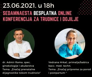 U srijedu 23.06.2021. u 18 sati sedamnaesta besplatna online konferencija za trudnice i dojilje
